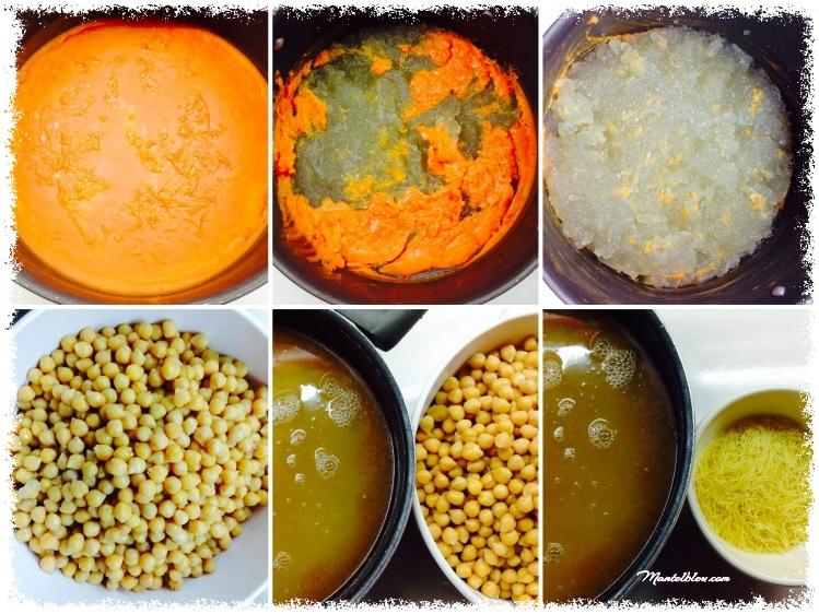 Cocido de garbanzos con sopa de fideos y sacramentos  Elaboración_Fotor