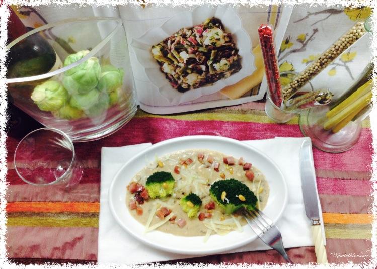 Brócoli con bechamel con queso y piñones 3
