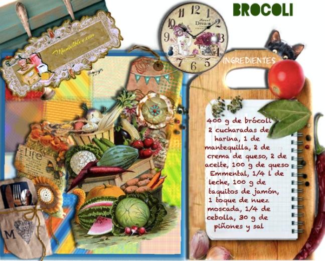 Brócoli con bechamel con queso y con piñones  Etiqueta