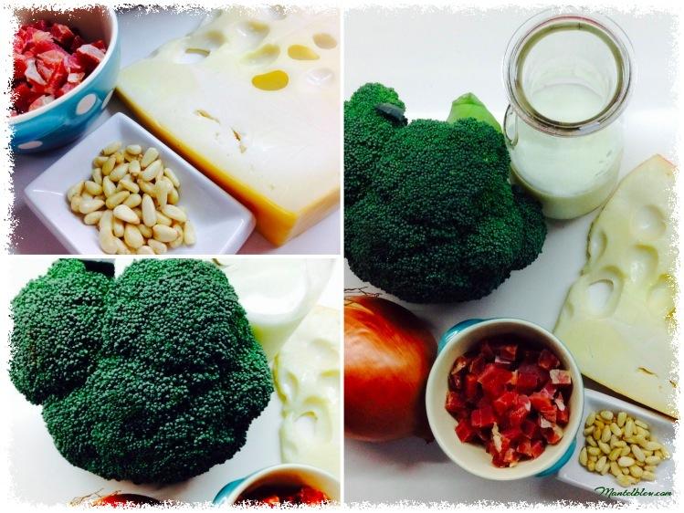 Brocolí con bechamel con queso y con piñones Ingredientes_Fotor