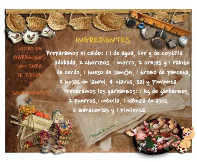 Cocido de garbanzos con sopa de fideos y sacramentos Etiqueta
