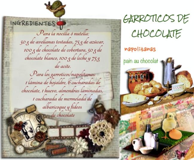 Garroticos de chocolate Napolitanas Etiqueta ingredientes