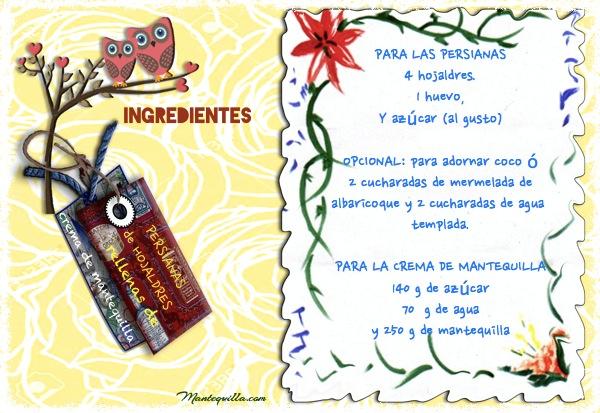 Persianas de hojaldre rellenos etiqueta ingredientes