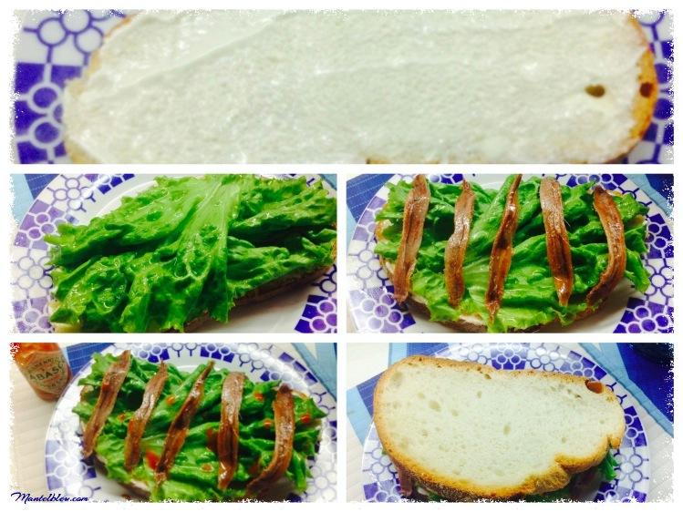 Sandwich de anchoa. Felipada. Elaboración