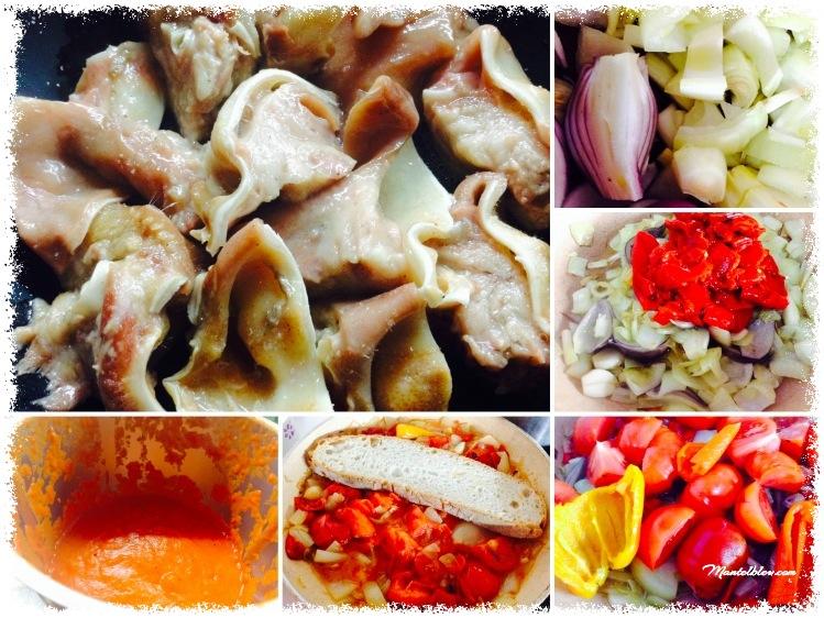 Orejas con salsa de tomate y pimientos Elaboración_Fotor