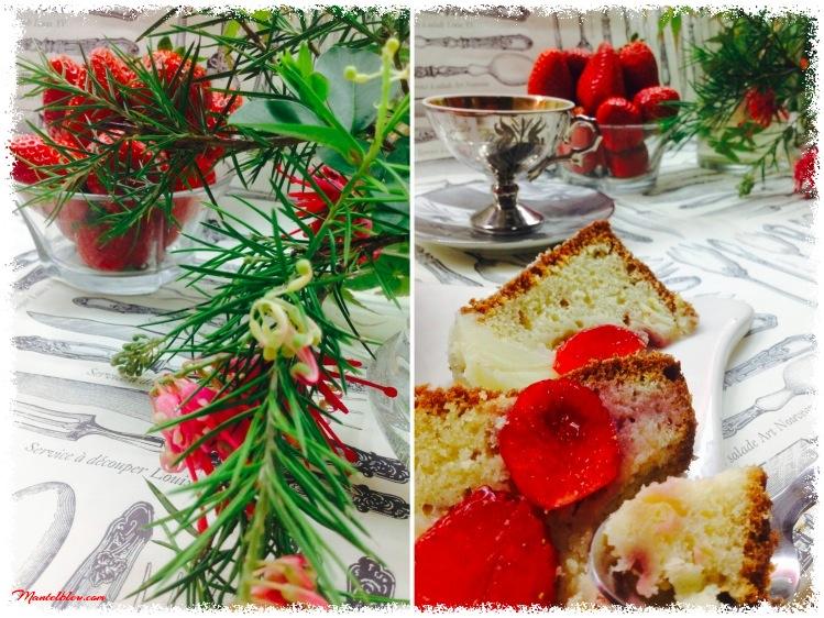 Pastel de bizcocho con fresas, plátanos y crema de mantequilla 3_Fotor