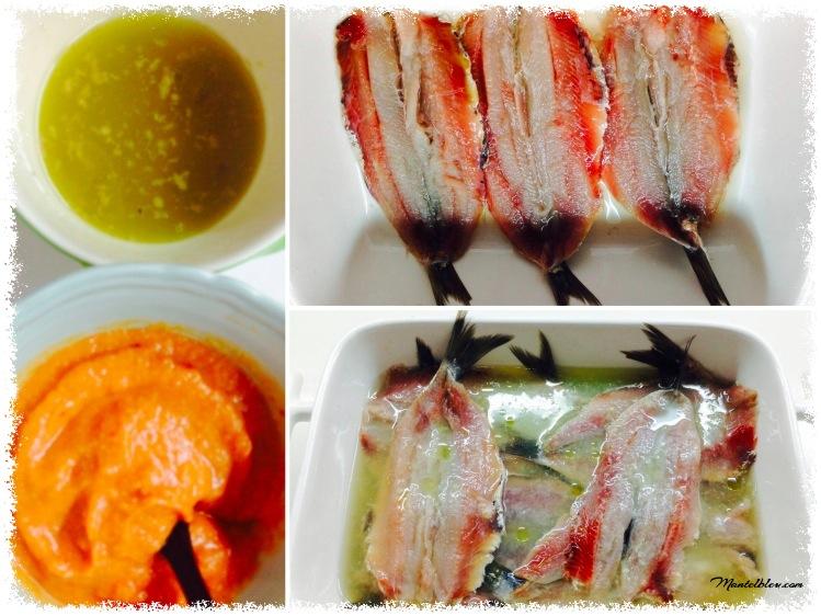 Sardinas en vinagreta con pimientos y salmorejo elaboración_Fotor