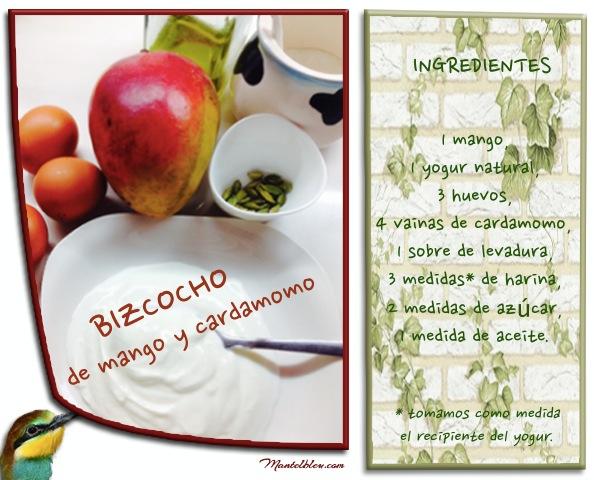 Bizcocho de mango y cardamomo Ingredientes etiqueta