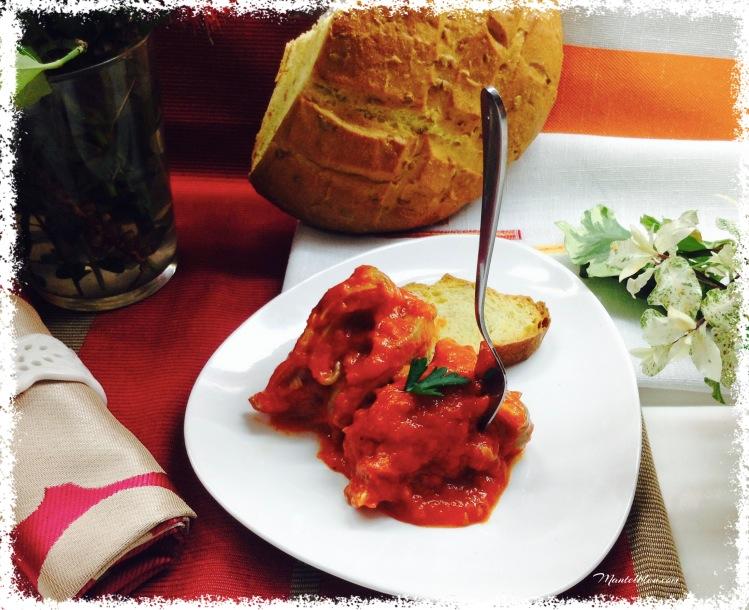 Oreja con crema de tomate y pimientos 4