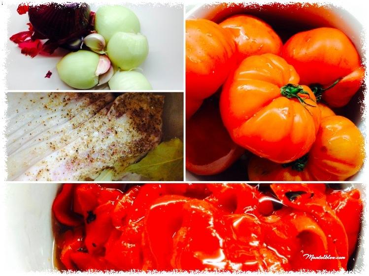Oreja con salsa de tomates y pimientos Ingredientes_Fotor