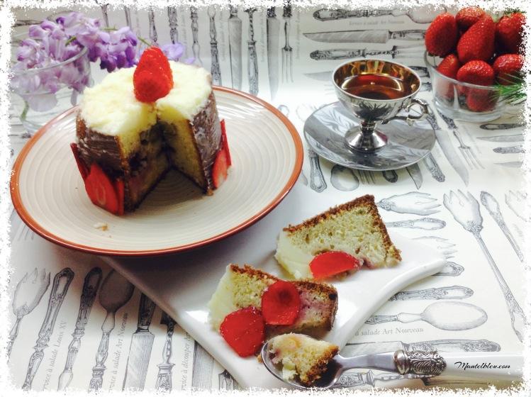 Pastel con fresas y crema de mantequilla 1