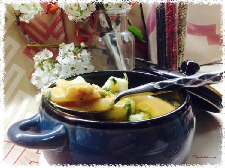 Sopa de pescado con aros de calamar 2
