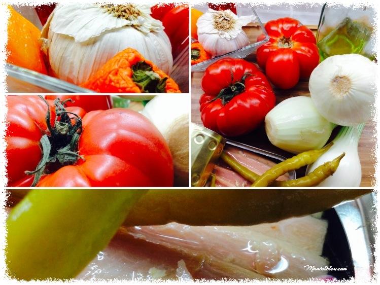 Tosta con ventresca y verduritas sobre crema de tomate Ingredientes_Fotor