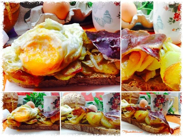 Tosta de huevos rotos con cecina 4_Fotor