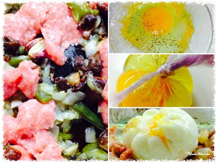 Tosta de pollo, setas y cebolletas con salsa de mostaza Elaboración_Fotor