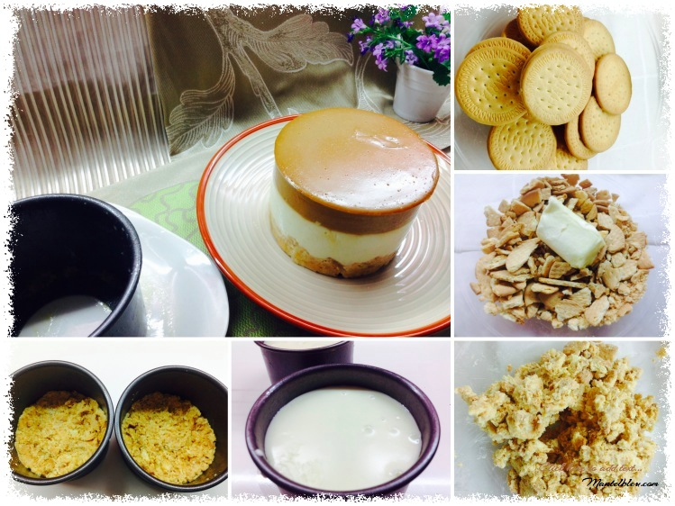 Tarta de queso con caramelo y chocolate blanco  Elaboración