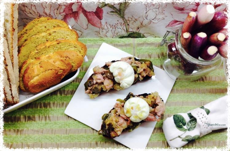 Tosta de pollo, setas y cebolleta con salsa de moscada 4