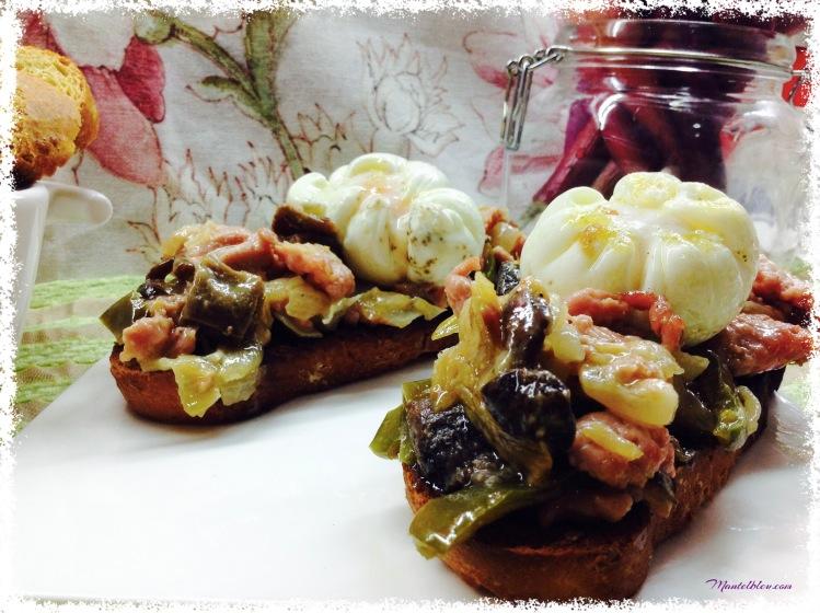 Tosta de pollo, setas y cebolleta con salsa de mostaza 1 a