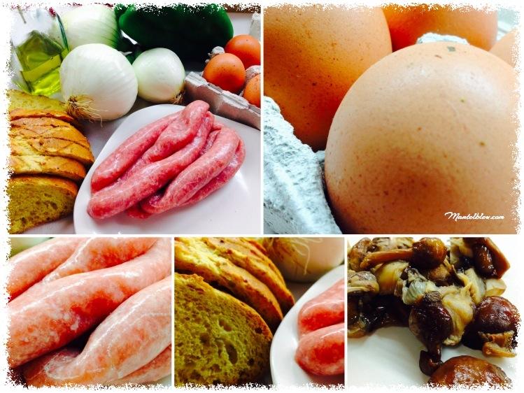 Tosta de pollo, setas y cebolleta con salsa de mostaza Ingredientes_Fotor
