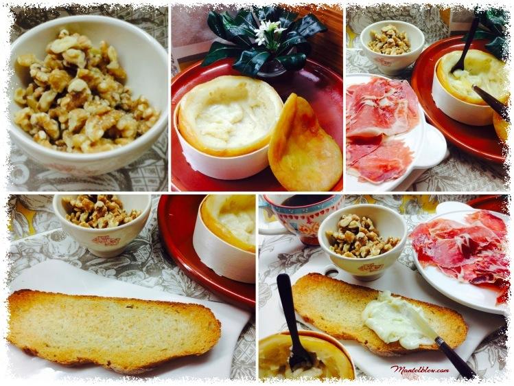 Tosta con Torta del Casar y jamón Elaboración_Fotor