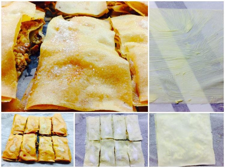 Pastelitos crujientes con nueces, yogur griego y frambuesas Elaboración