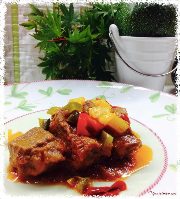 Carne guisada acomapañada de pimientos de colores 4