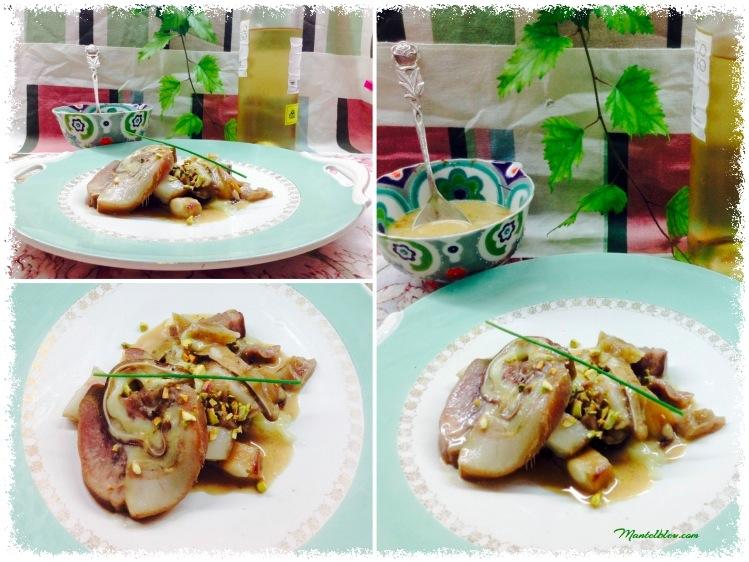 Pastel de cerdo con salsa de cebolla y pistachos 4_Fotor