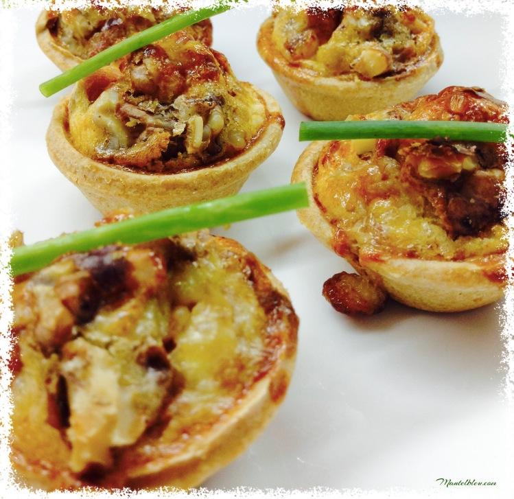 Tartaletas de quiche lorraine de jamón y nueces