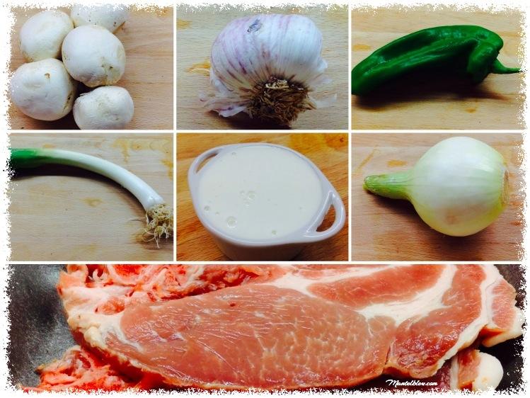 Chuletas de lomo en salsa con champiñones y pimienta Ingredientes_Fotor