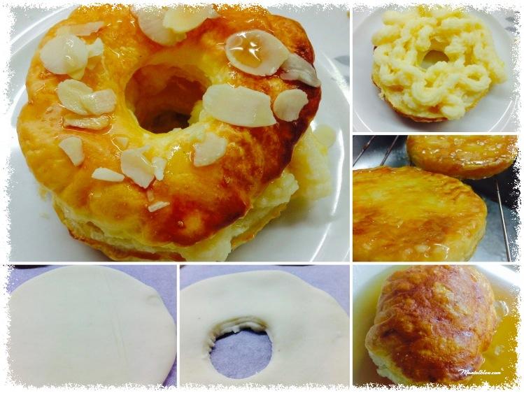 Donuts de hojaldre almibarado rellenos de crema elaboración_Fotor