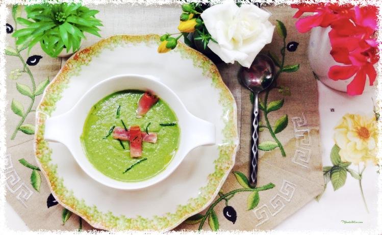 Gazpacho de lechuga con rollito de jamón 2