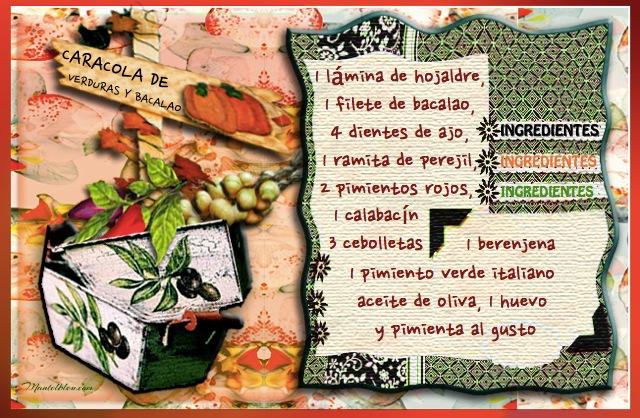 Caracola de verduras y bacalao Etiqueta
