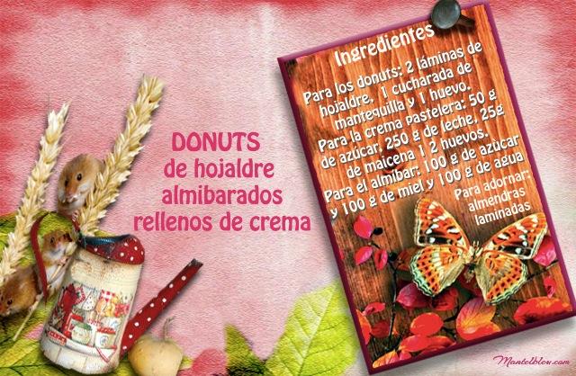 Donuts de hojaldre almibarados rellenos de crema Etiqueta