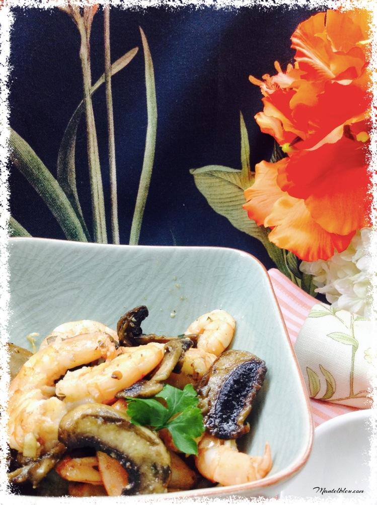 Ensalada templada con chapis y langostinos al ajillo 1