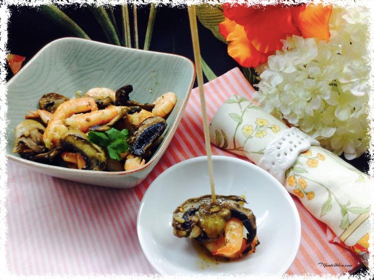 Ensalada templada de champis con langostinos 2