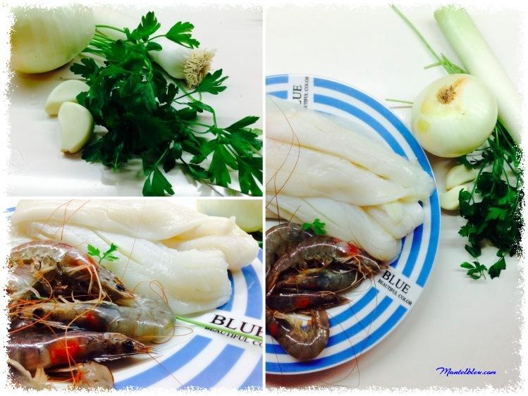 Lenguado al horno en salsa de puerros y langostinos Ingredientes_Fotor