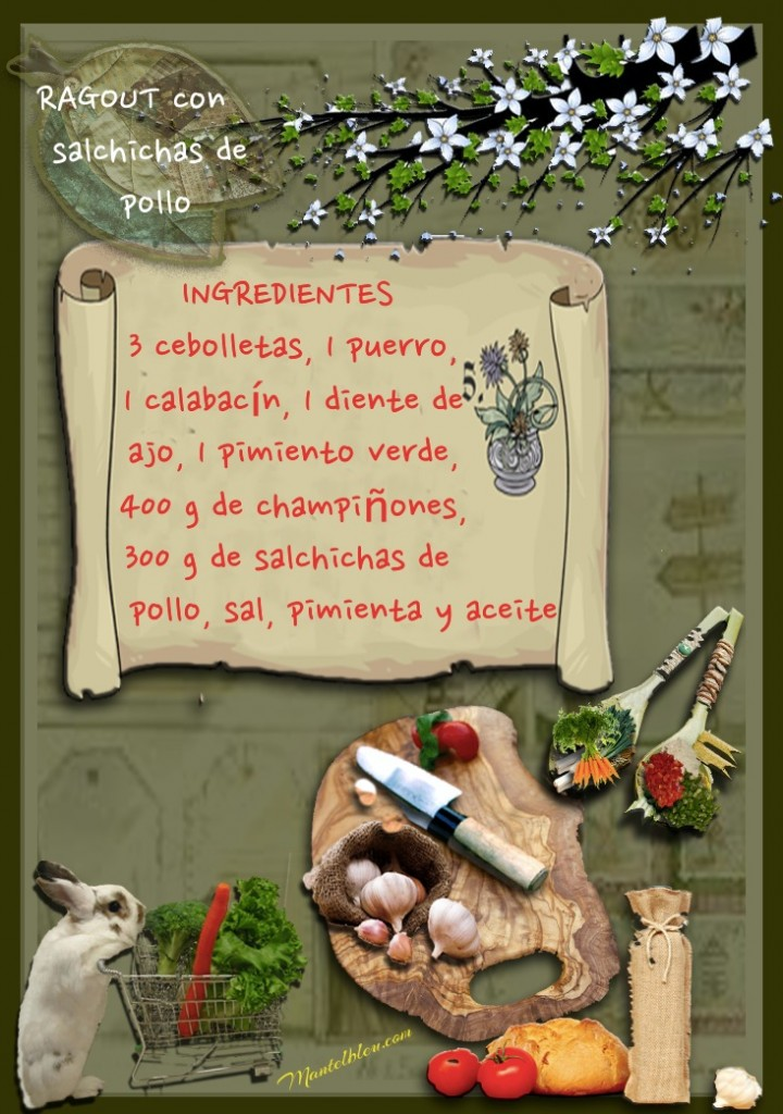 Ragout con salchichas de pollo etiqueta Ingredientes