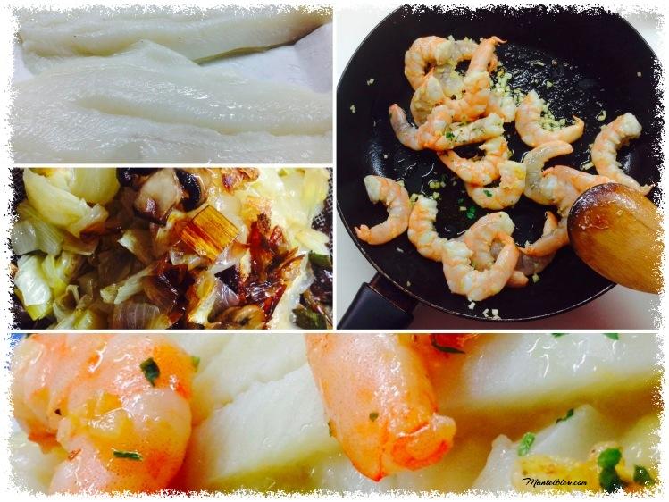 Lenguado al horno sobre salsa de puerros y langostinos Elaboración_Fotor