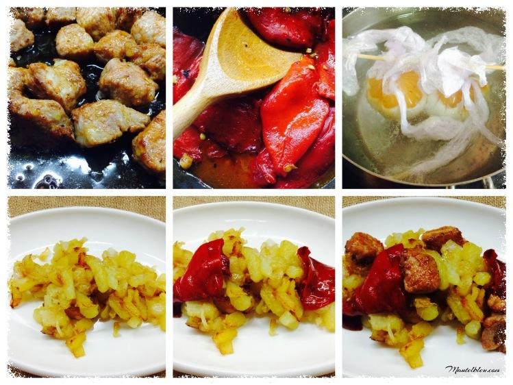 Fritada de patatas con carne adobada y pimientos rojos elaboración _Fotor