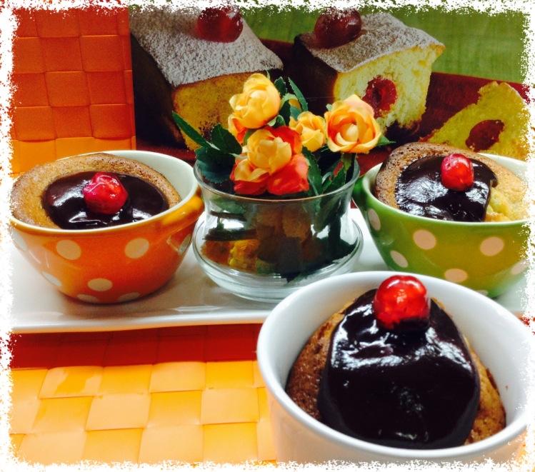 Cake de paraguayo a la taza con chocolate