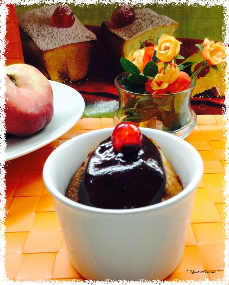 Cake de paraguayos a la taza con chocolate 1