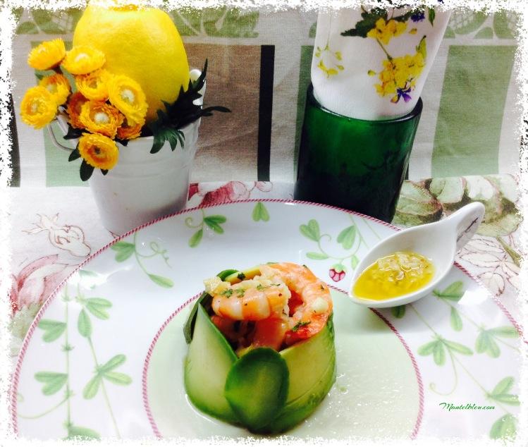 Ensalada de aguacate con langostinos en su salsa 1