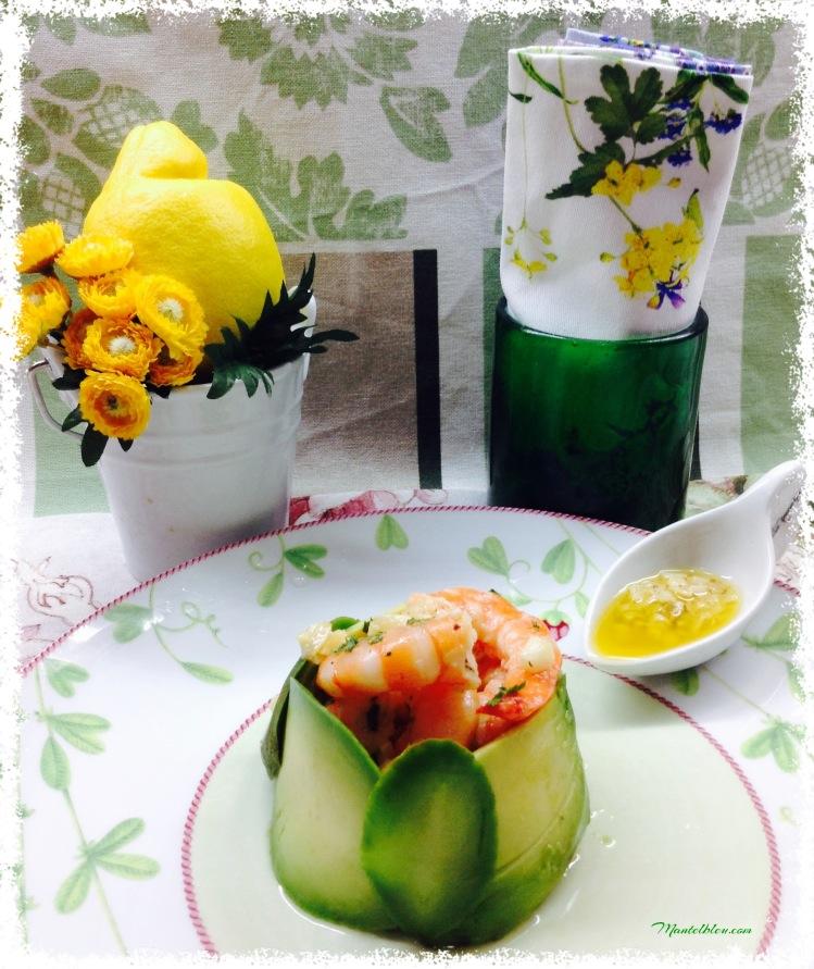 Ensalada de aguacate con langostinos en su salsa 4