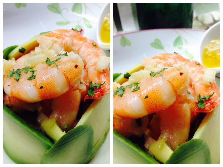 Ensalada de aguacate y langostinos en su salsa 7