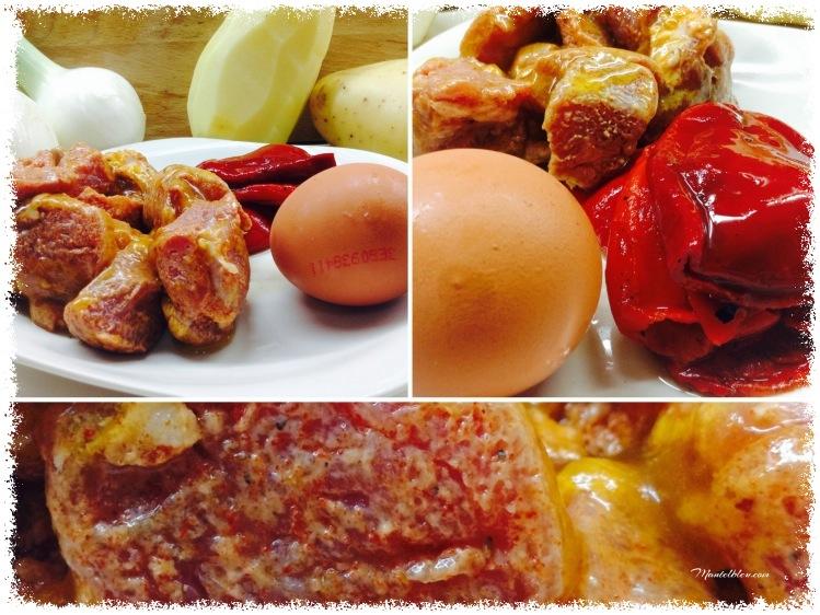 Fritada de patatas con carne adobada y pimientos Ingredientes_Fotor