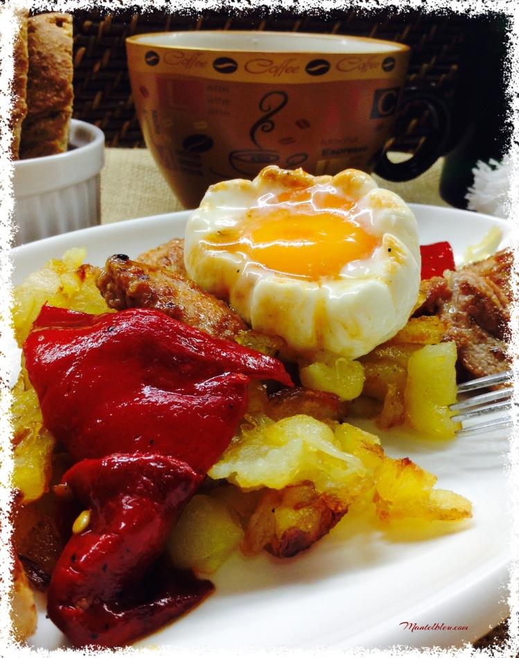 Fritadas de patatas con carne adobada y pimientos rojos 5