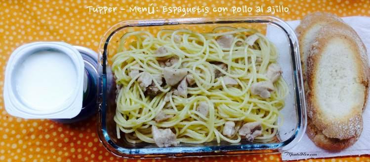 Tupper - Menú Espagueti con pollo al ajillo