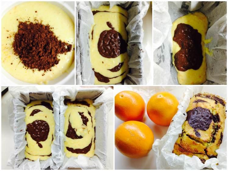 Bizcocho de naranja con chocolate elaboración