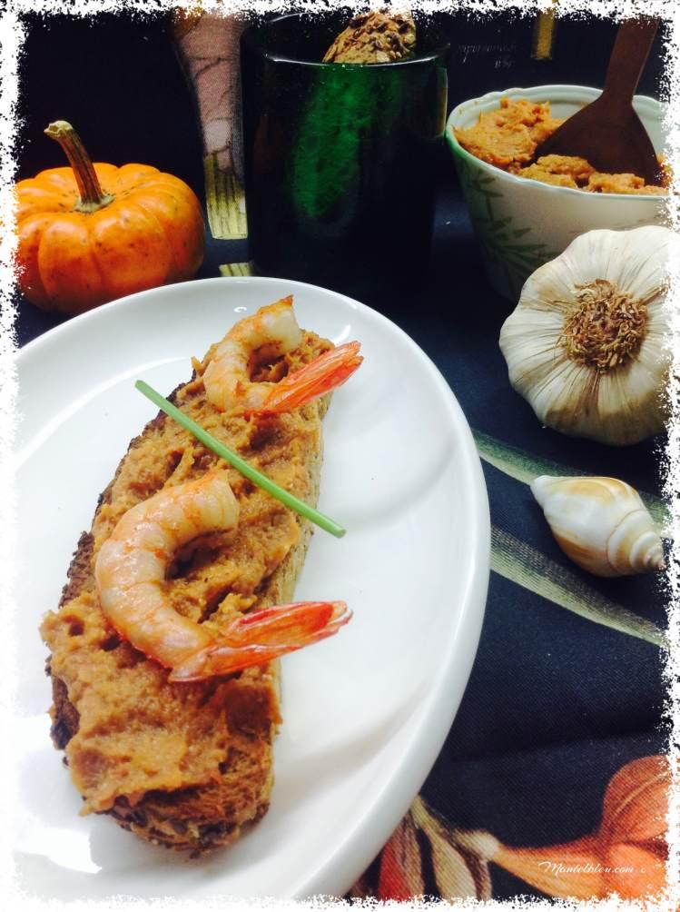 Tosta de crema de marisco con langostinos 2