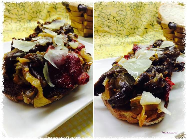 Tosta de setas, pimientos y parmesano 2_Fotor